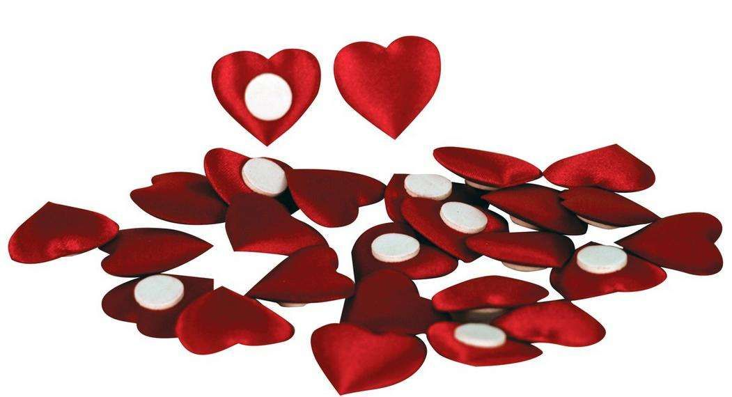 Srdíčka saténová s lepkou 2,5cm červené - 1ks